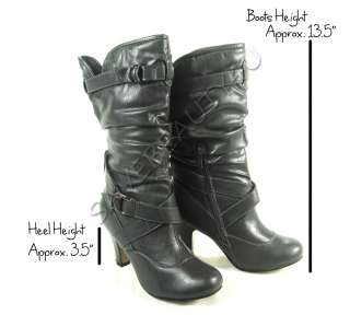 WOMENS TALL FAUX LEATHER HIGH HEEL BUCKLE ZIP UP BOOTS   VERONA