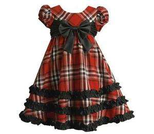 Bonnie Jean Girls Plaid Satin Bow Boutique Holiday Pageant Wedding