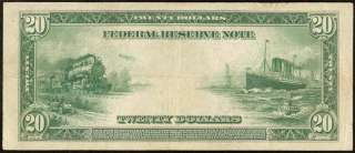 LARGE 1914 $20 DOLLAR BILL FEDERAL RESERVE NOTE BOSTON Fr 967 VERY