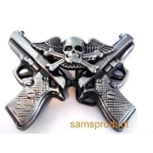 2 Guns Flying Wings Skull Antique Silver Belt Buckle