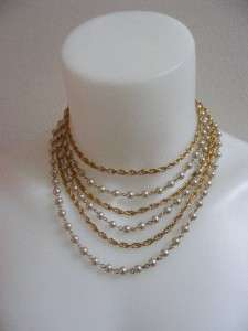 50s 60s CORO Gold Chain Faux PEARLS 6 Strand Choker Necklace