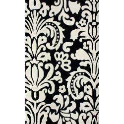 Collection Black/ White Tribal Damask Rug (5 x 8)
