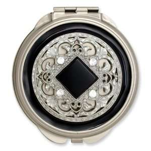 Silver tone Steel Black Enameled/Clear Crystal Round