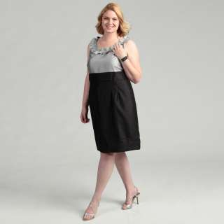 Jessica Howard Womens Plus Size Black/Silver Pleated Ruffle Neck