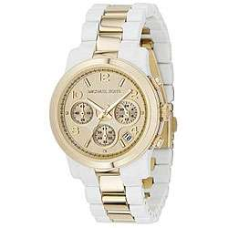 Michael Kors Womens Goldtone White Acrylic Watch