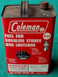 Vintage Coleman One Gallon Lantern Fuel Can Stove Antique Cooking Tin