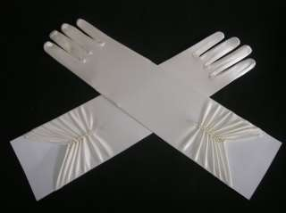 White Evening Opera Wedding Satin Gloves Long 37CM In Stock