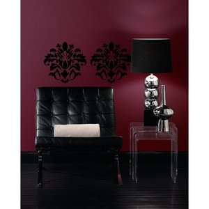 Room Mates Damask Peel and Stick Wall Decal in Black