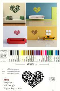 LOVE HEART MADE OF FLOWERS WALL ART STICKER DECAL RA38 kids vinyl
