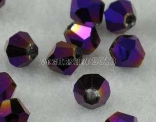Grade 200pcs Metal Purple Bicone Glass Bead 4mm