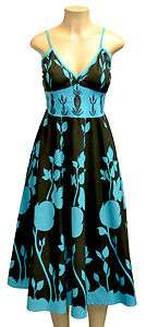 Turquoise Cotton Dress Embroidered Reg & Plus Sizes + FREE Gift