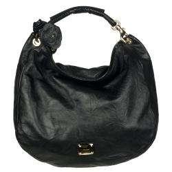 Jimmy Choo Sky Black Leather Hobo Bag