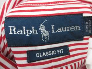 You are bidding on a RALPH LAUREN Blue Label Mens Red Striped Shirt