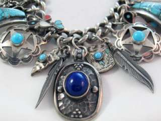 Vintage Sterling Silver Turquoise and Lapis Southwest Charm Bracelet