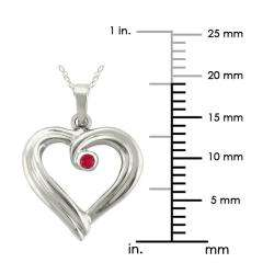 10k Gold Large Designer July Birthstone Created Ruby Ribbon Heart