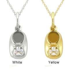 10k Gold April Birthstone White Topaz Baby Booty Designer Necklace