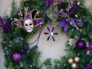 XL Holiday Lit ~ Venetian Mask ~ Christmas Door Wreath