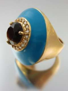 CREW Gold Tone Brown Crystal Blue Cocktail Ring