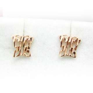 Butterfly Sterling Rose Gold Color Silver Stud Earrings