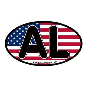 Alabama AL on US Flag Car Bumper Sticker Decal Oval