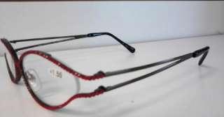 Retro Cat Eye Red Swarovski Reading Glasses Jimmy Crystal 1.50