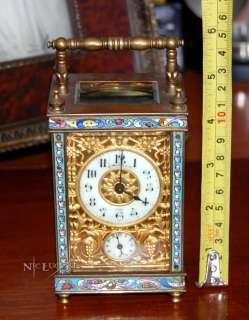 Antique French Carriage Clock Mantel Shelf Bronze Enamel rare