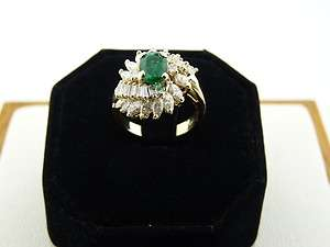 14K YELLOW GOLD DIAMOND CLUSTER RING WITH EMERALD CENTER