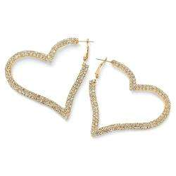 14k Goldplated Clear Crystal Heart shaped Hoop Earrings