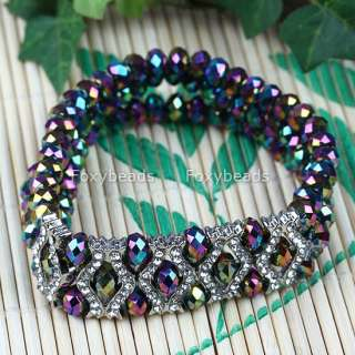 Colorful Crystal Glass Faceted Bead Bangle Bracelet 6L