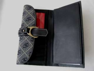 & BOURKE BLACK SIGNATURE QUILT LEATHER CHECKBOOK WALLET COIN PURSE