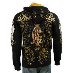 Christian Audigier Mens Black Live Life Hoodie