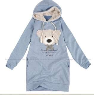 new warm lady cute bear Sweatershirts long hoodie Tops outwear faux