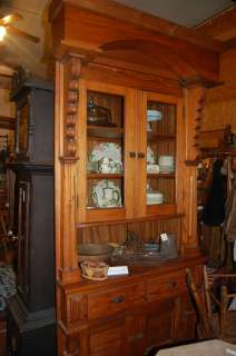 Antique Built in Pine China Cabinet Old World Style Very Ornate |