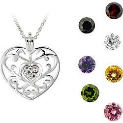 Sterling Silver Interchangeable CZ Heart Necklace