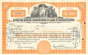 Packard Motor Car Company  old auto stock certificate