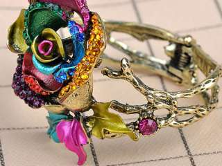 Colorful Abstract Enamel Paint Crystal Rhinestone Rose Flower Bracelet