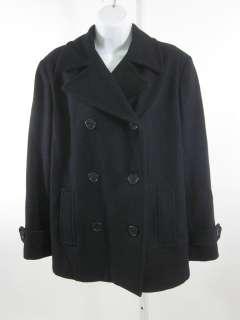 ST JOHNS BAY Black Wool Jacket Pea Coat Size Large