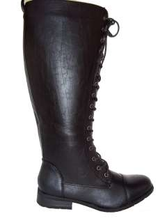 Women Combat army military motorcycle riding boots knee high Black