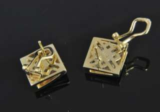 Estate Vtg 14K Gold Diamond Pave Square Stud Earrings