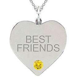 Birthstone Citrine Engraved BEST FRIENDS Necklace