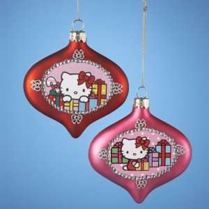 Pack of 6 Hello Kitty Red and Pink Glass Onion Christmas
