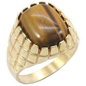 5ct Tigers Eye Mens 18K Gold Plated Ring sz 10