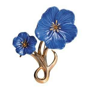 Franz Porcelain Blue flax flower Gold plated brass & porcelain brooch