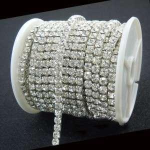 clear crystal rhinestone close chain trims silver 10 yard 4mm