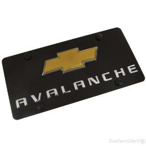 Chevy Logo + Avalanche Name Badge On Black License Plate