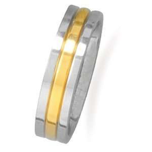 Stainless Steel and 14 Karat Gold Plated Mens Ring   Size