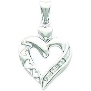 14K White Gold .04ct Diamond Heart Pendant Jewelry New