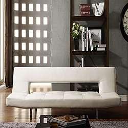 Bento Klic Klac White Vinyl Futon Sofa Bed