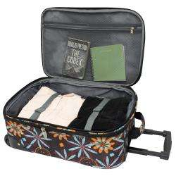 Brown Floral Fashion 4 piece Spinner Luggage Set