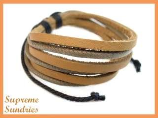 Style Brown Combo Braided Hemp Surfer Leather Bracelet #2